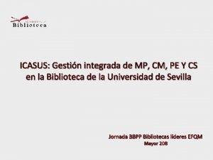 ICASUS Gestin integrada de MP CM PE Y