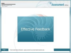 Effective Feedback Page 1 New Zealand Ministry of