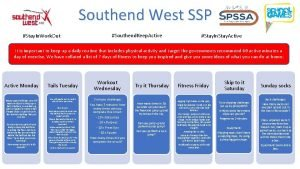 Southend West SSP Stay In Work Out Southend