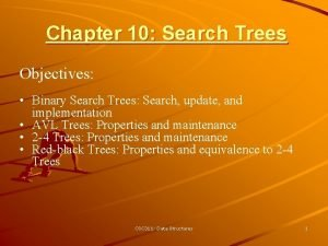 Chapter 10 Search Trees Objectives Binary Search Trees