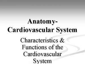 Anatomy Cardiovascular System Characteristics Functions of the Cardiovascular