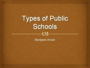 Types of Public Schools Marijean Arcari Charter Schools