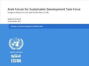 Arab Forum for Sustainable Development Task Force Progress
