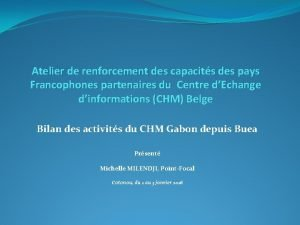 Atelier de renforcement des capacits des pays Francophones
