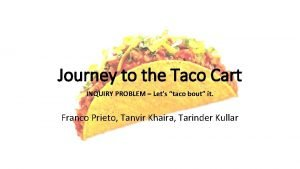 Journey to the Taco Cart INQUIRY PROBLEM Lets