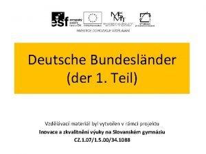 Deutsche Bundeslnder der 1 Teil Vzdlvac materil byl