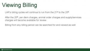 Viewing Billing LARs billing cycles will continue to
