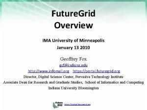 Future Grid Overview IMA University of Minneapolis January
