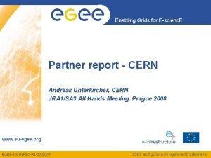 Enabling Grids for Escienc E Partner report CERN