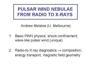 PULSAR WIND NEBULAE FROM RADIO TO XRAYS Andrew