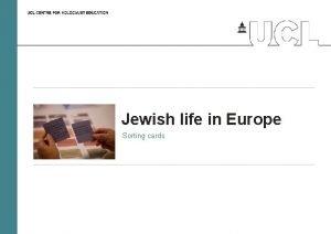 Jewish life in Europe Sorting cards Jewish life