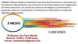 UNIDAD 2 Aplicar modelos matemticos que describen fenmenos