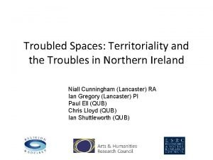 Troubled Spaces Territoriality and the Troubles in Northern