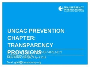 UNCAC PREVENTION CHAPTER TRANSPARENCY GILLIAN DELL TRANSPARENCY PROVISIONS