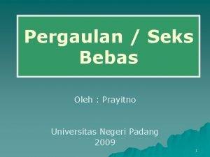 Pergaulan Seks Bebas Oleh Prayitno Universitas Negeri Padang