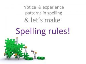 Notice experience patterns in spelling lets make Spelling