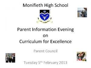 Monifieth High School Parent Information Evening on Curriculum