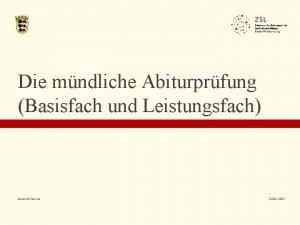Die mndliche Abiturprfung Basisfach und Leistungsfach www zslbw