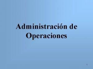 Administracin de Operaciones 1 Bibliografa Krajewski Ritzman Administracin