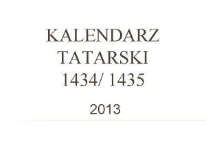 KALENDARZ TATARSKI 1434 1435 2013 PRZYKADOWA KARTA KALENDARZA
