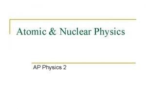 Atomic Nuclear Physics AP Physics 2 The Atom