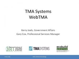 TMA Systems Web TMA Kerry Joels Government Affairs