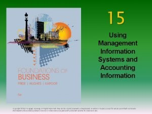 15 Using Management Information Systems and Accounting Information