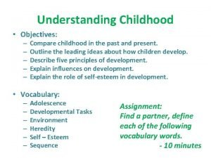Understanding Childhood Objectives Compare childhood in the past