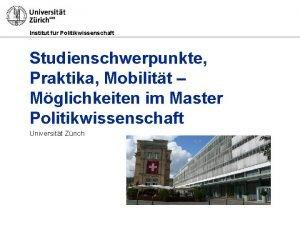 Institut fr Politikwissenschaft Studienschwerpunkte Praktika Mobilitt Mglichkeiten im