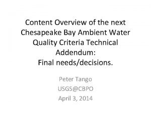 Content Overview of the next Chesapeake Bay Ambient