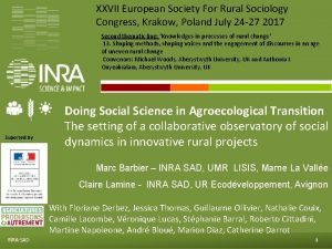 XXVII European Society For Rural Sociology Congress Krakow