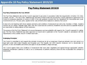 Appendix 18 Pay Policy Statement 201920 Pay Policy
