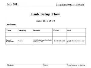 July 2011 doc IEEE 802 11 111066 r