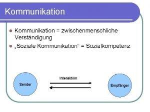 Kommunikation zwischenmenschliche Verstndigung l Soziale Kommunikation Sozialkompetenz l