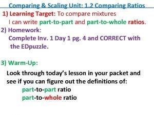 Comparing Scaling Unit 1 2 Comparing Ratios 1
