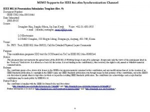 MIMO Supports for IEEE 802 16 m Synchronization