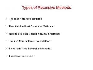 Types of Recursive Methods Direct and Indirect Recursive