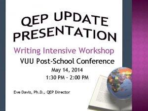 Writing Intensive Workshop VUU PostSchool Conference May 14