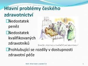 Hlavn problmy eskho zdravotnictv Nedostatek penz Nedostatek kvalifikovanch
