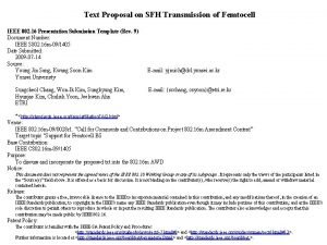 Text Proposal on SFH Transmission of Femtocell IEEE
