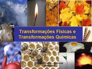 Transformaes Fsicas e Transformaes Qumicas Cincias Fsico Qumicas