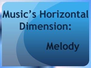 Musics Horizontal Dimension Melody Melody H qh Set