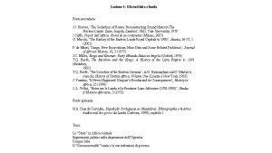 Lezione 1 Gli stati luba e lunda Fonti