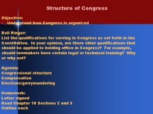 Structure of Congress Objective Understand how Congress is