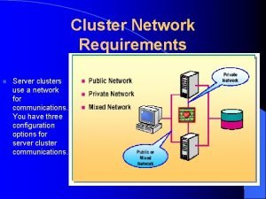 Cluster Network Requirements l Server clusters use a