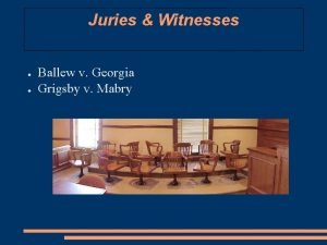 Juries Witnesses Ballew v Georgia Grigsby v Mabry