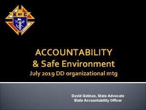ACCOUNTABILITY Safe Environment July 2019 DD organizational mtg