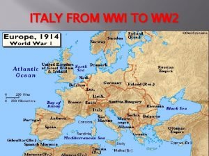 ITALY FROM WWI TO WW 2 Before WW