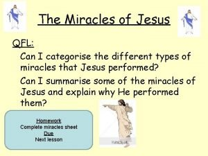 The Miracles of Jesus QFL Can I categorise