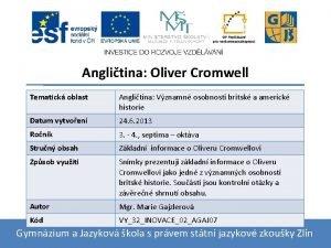 Anglitina Oliver Cromwell Tematick oblast Anglitina Vznamn osobnosti